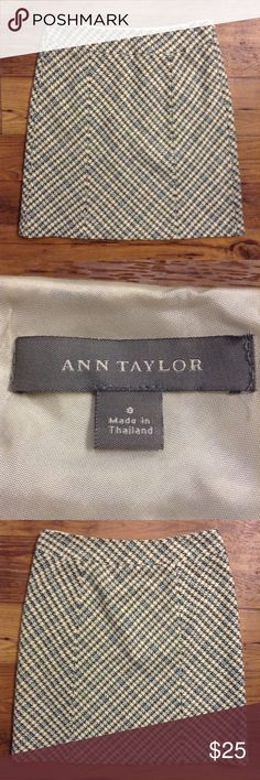 """Ann Taylor blue cream black skirt size 8 Lined. Side zipper. Gently used. Approximately 16"""" across at waist. 22"""" long. Wool, rayon, nylon blend shell. (A) Ann Taylor Skirts"""