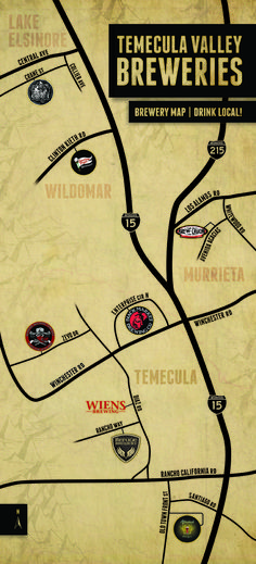 Temecula Brewery Map. Southern California. Better Living Through Beer http://www.pinterest.com/wineinajug/better-living-through-beer/