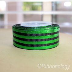 GREEN FOIL STRIPE RIBBON