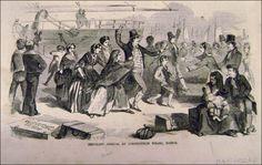 1840's Irish immigrants arriving by boat to escape potato famine.