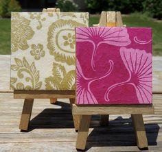 Gold Flowers Mini Canvas and Pink Flowers Mini Canvas with Matching Gold Easels Set, Cute Little Canvases, Small Canvas Art. $15.00, via Etsy.