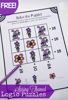 This cute set of spring themed logic puzzles is perfect for helping kids' problem solve and develop algebraic thinking! Free set of 3 logic puzzles!