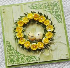 Blog Craft Passion: Kartka wielkanocna/ Easter card Easter Card, Handmade Birthday Cards, Craft Stick Crafts, Quilling, Easter Eggs, Cardmaking, Floral Wreath, Paper, Spring
