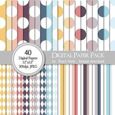 SALE 40 Digital Paper Pack Dot Design stripe Design by rueastyle