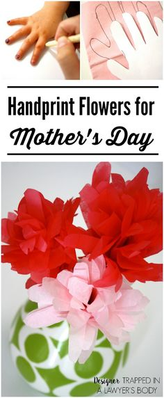SO SWEET! These handprint flowers made from tissue paper are PERFECT for Mother's Day. You use your child's handprint as the template. Perfect for the moms or grandmothers in your life! Full tutorial from Designer Trapped in a Lawyer's Body.