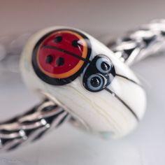 GlassBonBon Clover Ladybug Artisan Bead  Ooak SRA Lampwork fits all european charm bracelets BHB fully cored