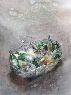 aquarelle / watercolor by Jean Louis Morelle Watercolor And Ink, Watercolour Painting, Watercolors, Art Aquarelle, Art Object, Oeuvre D'art, All Art, Les Oeuvres, Still Life