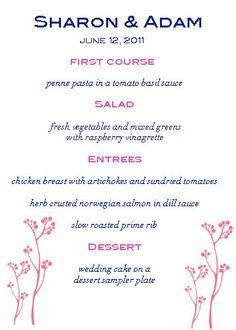 Pink and navy wedding menu