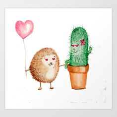 Hedgehog and Cactus Love Art Print by kseniacreatives Cactus, Beautiful Gifts, Art Design, Love Art, Illustration, Hedgehog, Designer, Duvet Covers, Pink