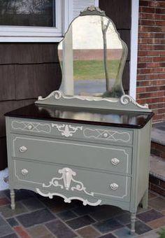Hand painted 1920s Depression Era dresser with mirror