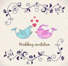 Мультфильм птица влюбленных свадебные приглашения векторные материал
