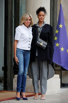 Making things happen: Rihanna greeted France's First Lady Brigitte Macron at the Elysee Palace on Wednesday, after appealing to the President to contribute to education in developing countries Estilo Rihanna, Rihanna Style, Elle Fashion, French Fashion, Finnish Women, Beaux Couples, Looks Jeans, Emmanuel Macron, List Style