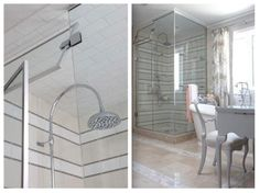 So this room felt pretty classic Sarah. One of my favourite things was the striped look of the tile in the shower:
