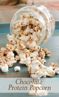 Chocolate Popcorn is high in protein and low in guilt! This is a great healthy alternative to your movie night popcorn.