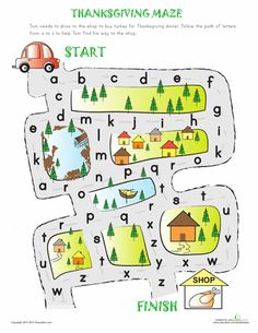 Worksheets: Alphabet Maze to Thanksgiving!