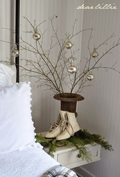 anderson + grant: Some of my favorite Christmas ideas skates and simple urn with tree...one tone ornies