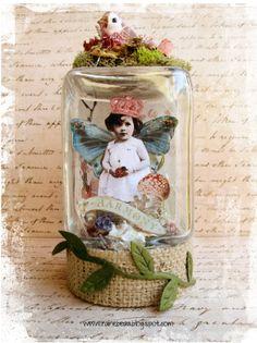 Fairy Jar & Freebies. Lovely vintage images.