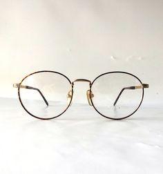 95560c2f57 vintage 90 s NOS round eyeglasses metal gold detailed frames brown tortoise  shell modern retro eye glasses eyewear nerd mario martinelli new
