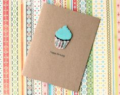Handmade Birthday Card Cupcake with Blue Icing. $3,50, via Etsy.
