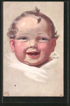 Künstler-AK Wally Fialkowska: Lachen und Weinen, Glücklicher Säugling 0