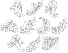 Set of 10 delicate angel wings done in redwork. These would be great on shirts, anything. Sized to fit within: 10 cm x 10 cm / 4 inches x 4