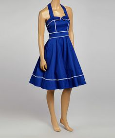 Another great find on #zulily! Blue & White-Trim Halter Dress by HEARTS & ROSES LONDON #zulilyfinds