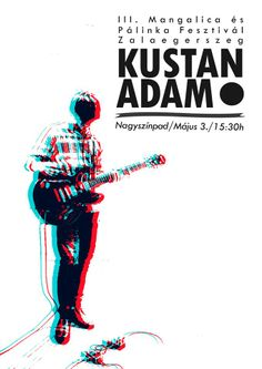 Kustan Adam music poster, guitar, 3D