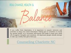 Counseling Charlotte NC. Find one person that you can confide in, such as a therapist or a family member that can help you sort out your thoughts. Sometimes having an outsider's view can give you a new perspective on what you are going through. Couples usually turn to Couples Counseling Charlotte NC when they feel that their relationship is in deep trouble.Follow us http://counseling-charlottencblr.tumblr.com/