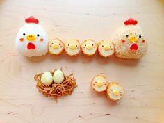 Kawaii food and cute bento chicken riceballs and chick croquettes   にわとりおにぎり+ひよこコロッケ