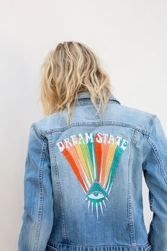 Be a part of our dream state tribe in this hand embroidered Dream State Jacket. This jacket has a boyfriend fit for that oversized tomboy flare. Model is 5'9 wearing a size Small - For an extra oversi