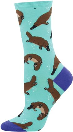 Show your love for the adorable platypus with this Women's Crew! Fits women's shoe sizes 6 to cotton, nylon and spandex. Made in Korea. Silly Socks, Crazy Socks, Funky Socks, Sock Animals, Clay Animals, Grumpy Cat Quotes, Food Socks, Softie Pattern, Gamine Style