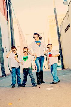 Mom and boys Superheroes- would be cute to do as cowboys