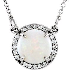 14kt White 8mm Opal & .05 CTW Diamond Necklace.  Call Martin Jewelry at Westroads Mall in Omaha, NE. for more details.  402-397-3771.