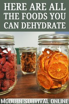 diy food Dehydration is an easy and a great food preservation method for your stockpile. Youd be amazed at all of the fruits, veggies and other foods you can dehydrate. Canning Food Preservation, Preserving Food, Konservierung Von Lebensmitteln, Dehydrated Vegetables, Dehydrated Food Recipes, Canned Foods, Healthy Snacks, Healthy Recipes, Diabetic Snacks