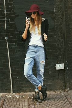 Spiked shoulders on jacket, white tee, ripped boyfriend jeans and plum hat -Love this outfit;)