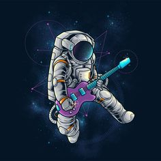 'Spacebeat Rocker' Poster by Space Artwork, Space Drawings, Wallpaper Space, Galaxy Wallpaper, Desenho Pop Art, Astronaut Tattoo, Arte Robot, Space Illustration, Astronauts In Space
