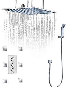 Original Brushed Nickel Finish Massage Jet Tankless Rainfall Shower Tower Bathroom Rainfall Shower Panel Thermostatic Spout Shower Column Bathroom Fixtures