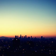 The LA skyline at sunset. That's my city.