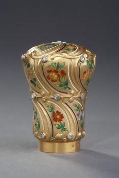 French stick knob, gold, enamel, diamonds, 19th c