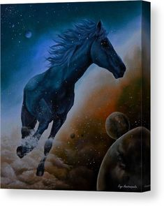 Canvas Print,  horse,celestial,dreamscape,wild,animal,equine,equestrian,space,universe,planets,sky,cosmic,cloudwalker,spirit,soul,dancing,freedom,happy,movement,motion,running,wildlife,stallion,powerful,dynamic,fantasy,dreamy,whimsical,magical,surreal,contemporary,modern,cool,fun,fancy,colorful,colors,teal,blue,on,in,of,at,above,the,fine,art,mixed,media,digital,painting,artworks,products,items,for sale,online,fine art america