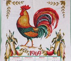 Vintage 1969 Cloth Calendar Rooster Retro Kitchen Home Decor Linen Towel Repurpose Supply PeachyChicBoutique on Etsy