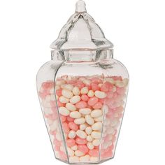 Glass Apothecary Jar Glass Storage Containers Vase Candy Buffet Lid... (84 RON) ❤ liked on Polyvore featuring home, home decor, small item storage, home & living, jars & containers, kitchen & dining, kitchen storage, pink, glass apothecary jars and apothecary jars