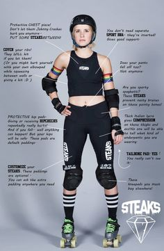 WHAT WE DO STEAKS® develops and produces innovative, protective apparel for roller derby players. Best Roller Skates, Roller Derby Skates, Roller Skating, Roller Derby Clothes, Roller Derby Girls, Derby Outfits, Roller Disco, Inline Skating, Skateboard Girl