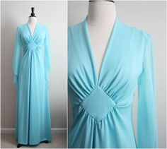 Vintage 70s Sears Powder blue sheer Maxi Dress by PARASOLvintage, $58.00  Dresses like these are Godsend for the curvy it accentuates everything that needs to be and masks what needs to be.