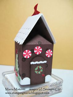Gingerbread House made with Stampin' Up's Mini Milk Carton die Christmas Art Projects, Christmas Paper Crafts, Stampin Up Christmas, Christmas Deco, All Things Christmas, Christmas Tree Decorations, Holiday Crafts, Christmas 2017, Christmas Ornaments