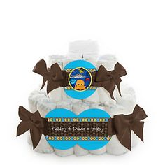 Under The Sea Critters - 2 Tier Personalized Square Baby Shower Diaper Cake