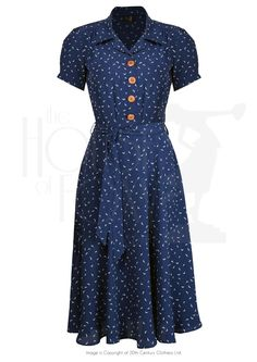 1940s Shirt Waister Dress in Navy Starling Bird Print