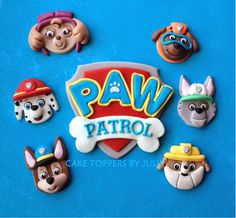 Recent Paw Patrol topper set for a friend Toppers made of gum paste & fondant