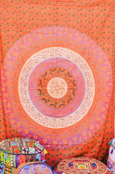 Hand printed Mandala Tapestries Wall Hanging or Bedsheet reds