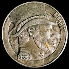 Steve Cox - Tophat with Cigar Hobo Nickel, Cigar, Buffalo, Classic Style, Cactus, Coins, Auction, Carving, Money